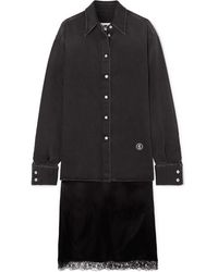 MM6 by Maison Martin Margiela Embroidered Denim And Lace-trimmed Satin Shirt And Skirt Set - Black