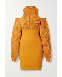 Hervé Léger Mini-robe En Mailles Torsadées Et En Bandage À Découpes - Orange