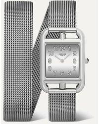 Hermès Cape Cod Double Tour 23 Mm Kleine Uhr Aus Edelstahl Mit Wickelarmband - Mettallic
