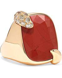 Pomellato - Ritratto 18-karat Rose Gold, Jasper And Diamond Ring - Lyst
