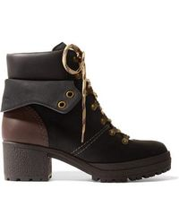See By Chloé Leather-trimmed Nubuck Ankle Boots - Black