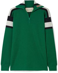 Gucci - Embroidered Striped Wool, Silk And Cashmere-blend Sweater - Lyst