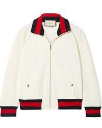 Gucci Striped Twill Bomber Jacket - White