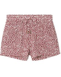 Anine Bing Ashley Printed Washed-silk Pajama Shorts Red