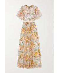 Needle & Thread Sunset Robe Aus Tüll Mit Blumenprint Und Pailletten - Mehrfarbig