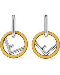 Fendi Silver-tone, Wood And Enamel Earrings - Metallic