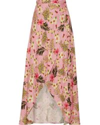 Miguelina - Hibiscus Printed Asymmetric Wrap Skirt - Lyst