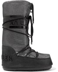 Moncler - + Moon Boot Saturne Metallic Shell And Nubuck Snow Boots - Lyst