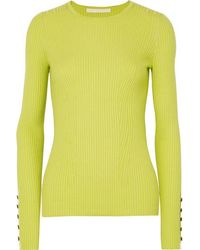 Jason Wu Collection Button-detailed Ribbed Cashmere And Silk-blend Sweater - Yellow