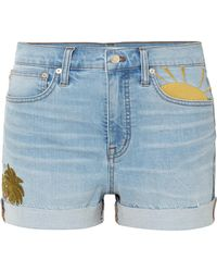Madewell - Embroidered Denim Shorts - Lyst