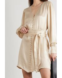 Envelope Nice Belted Satin Mini Dress - Natural