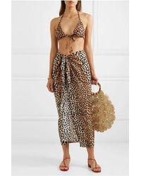 RIXO London Isla Leopard-print Cotton And Silk-blend Pareo - Multicolour