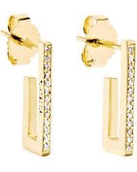 Jennifer Meyer - Mini Rectangle 18-karat Gold Diamond Earrings - Lyst