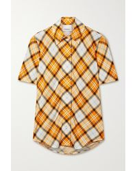 Burberry Checked Stretch-jersey Top - Orange