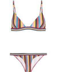 RYE SWIM - Razzle Striped Triangle Bikini - Lyst