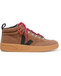 Veja + Net Sustain Roraima Suede And Leather High-top Trainers - Brown