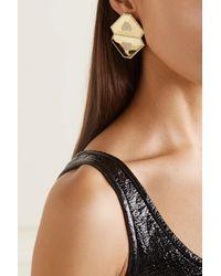 Ofira Shield 18-karat Gold Diamond Earrings - Metallic
