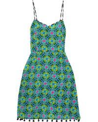 Matthew Williamson - Pompom-embellished Printed Silk Crepe De Chine Dress - Lyst