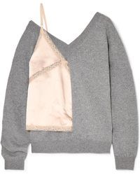 Alexander Wang - Paneled Wool-blend, Lace And Satin Sweater - Lyst