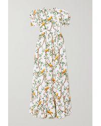 Agua by Agua Bendita Amapola Open-back Printed Cotton-poplin Maxi Dress - White
