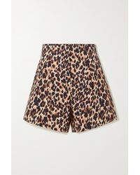 Racil Sabi Leopard-print Cotton-blend Shorts - Brown