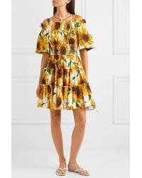 Dolce & Gabbana Sunflower Print Off-the-shoulder Dress - Yellow