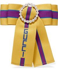 Gucci Bedruckte Brosche Aus Ripsband Mit Kristallen - Gelb