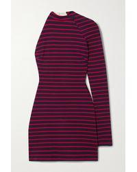 Monse Mini-robe Asymétrique Dos Ouvert En Jersey De Coton À Rayures - Rouge