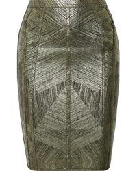 Hervé Léger - Cadi Metallic Stretch Pencil Skirt - Lyst