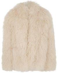 Saint Laurent Collarless shaggy Fur Jacket - Natural