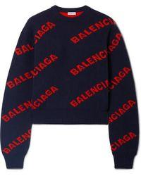 Balenciaga Verkürzter Pullover Aus Einer Wollmischung Mit Intarsienmuster - Blau