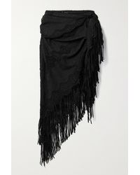 Miguelina Julia Fringed Crochet-trimmed Embroidered Cotton-blend Pareo - Black
