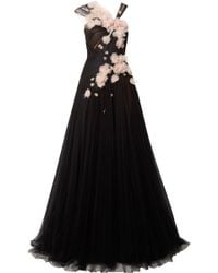 Marchesa - Feather-embellished Appliquéd Tulle Gown - Lyst