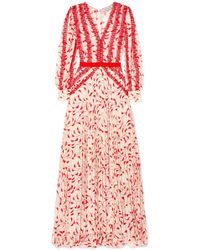 49b01f9419f9 Self-Portrait - Crescent Guipure Lace-trimmed Pleated Printed Chiffon Maxi  Dress - Lyst