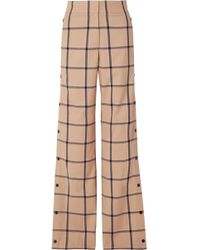 Monse - Louise Snap-fastening Checked Canvas Wide-leg Trousers - Lyst