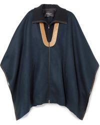Derek Lam - Leather-paneled Wool-blend Felt Cape - Lyst