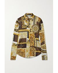 Versace Printed Silk-twill Shirt - Brown