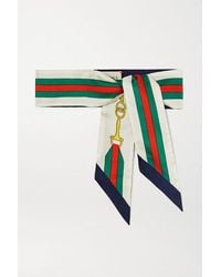 Gucci Interlocking G Horsebit Silk-twill Scarf - White