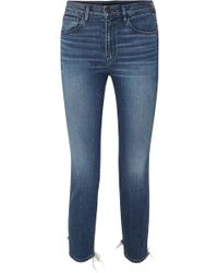 3x1 - W3 Cropped Distressed High-rise Skinny Jeans - Lyst