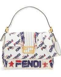 3a71f7228149 Fendi - Baguette Bead-embellished Printed Leather Shoulder Bag - Lyst