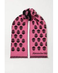 Alexander McQueen Reversible Fringed Intarsia Wool Scarf - Pink