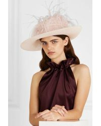 Philip Treacy Feather-trimmed Sinamay Straw Hat - Multicolour
