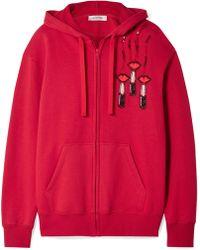 Valentino - Embellished Appliquéd Cotton-blend Jersey Hooded Top - Lyst
