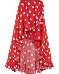 Caroline Constas - Adelle Asymmetric Ruffled Polka-dot Cotton Skirt - Lyst