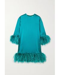 16Arlington Mini-robe En Satin À Plumes Borage - Bleu