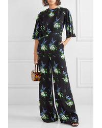 Les Rêveries Combi-pantalon En Crêpe De Chine De Soie À Imprimé Fleuri - Noir
