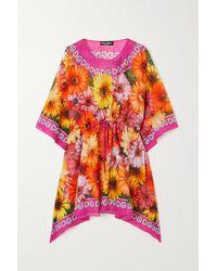 Dolce & Gabbana Pop Kaftan Aus Baumwoll-voile Mit Blumenprint - Pink