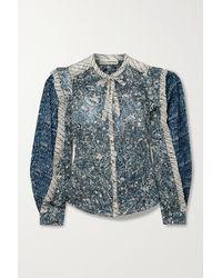 Ulla Johnson Nara Patchwork Printed Cotton-blend Voile Blouse - Blue
