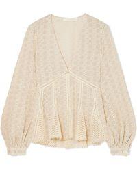 Jonathan Simkhai - Crocheted Cotton-blend Gauze Top - Lyst