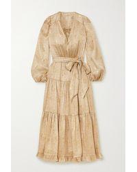 Ulla Johnson Helena Belted Tiered Floral-print Silk And Lurex-blend Midi Dress - Metallic